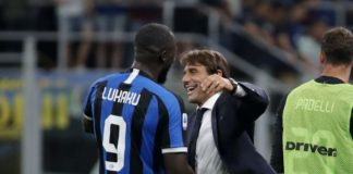 Inter boss Antonio Conte forward Romelu Lukaku