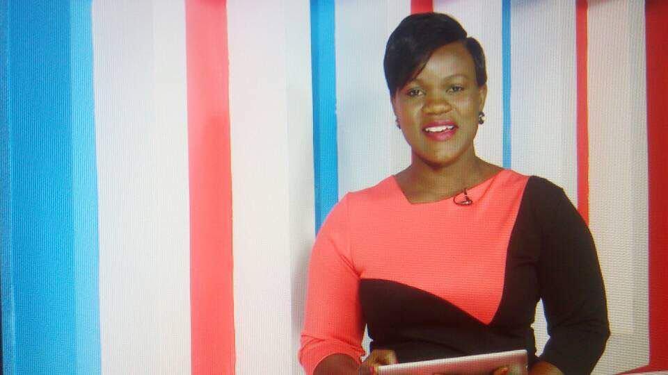 Luganda news anchors Jocelyne Nakibuule