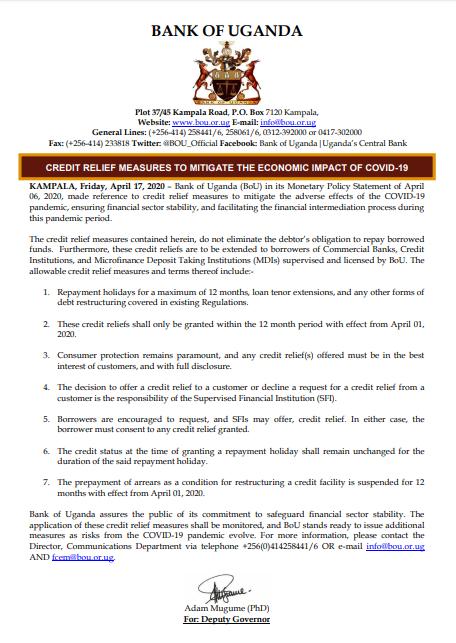 Bank of Uganda suspend loan repayment