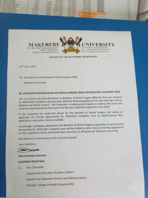 Makerere admit students under the Dental Surgery programme