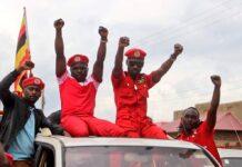 bobi wine supporters dress red ahead
