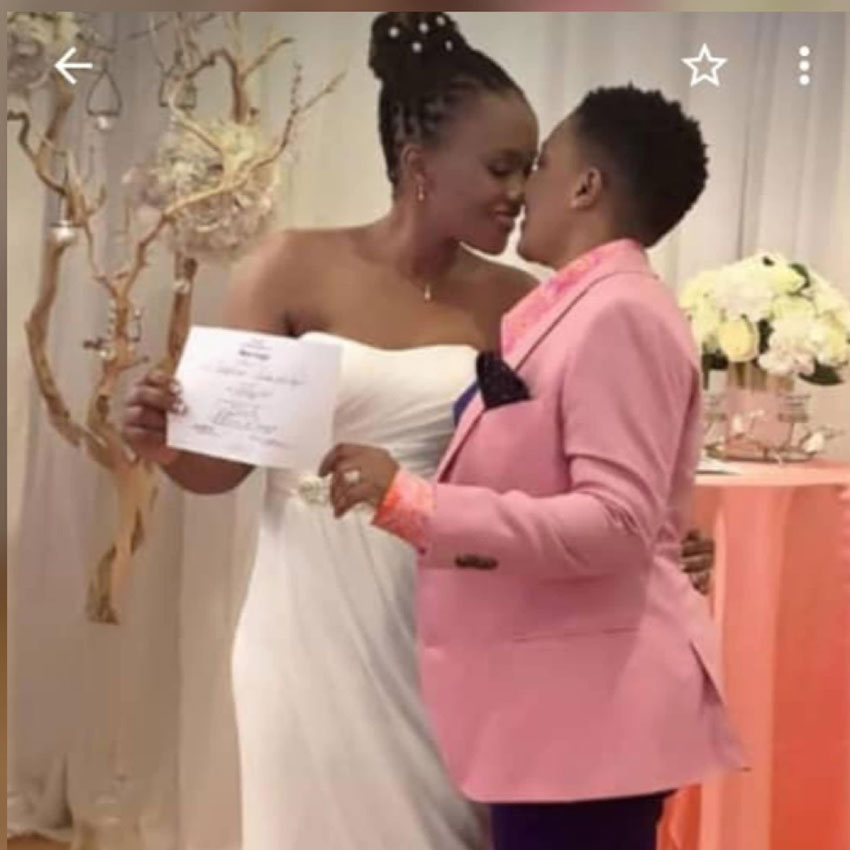 Mutesasira's photos kissing a fellow woman at their wedding