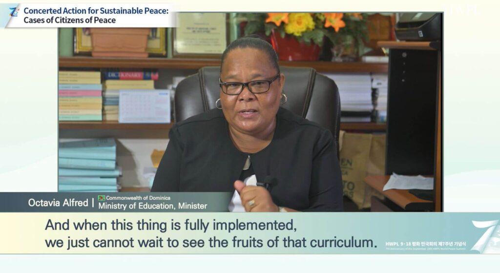 Hon. Octavia Alfred Explaining HWPL Peace Education (1)