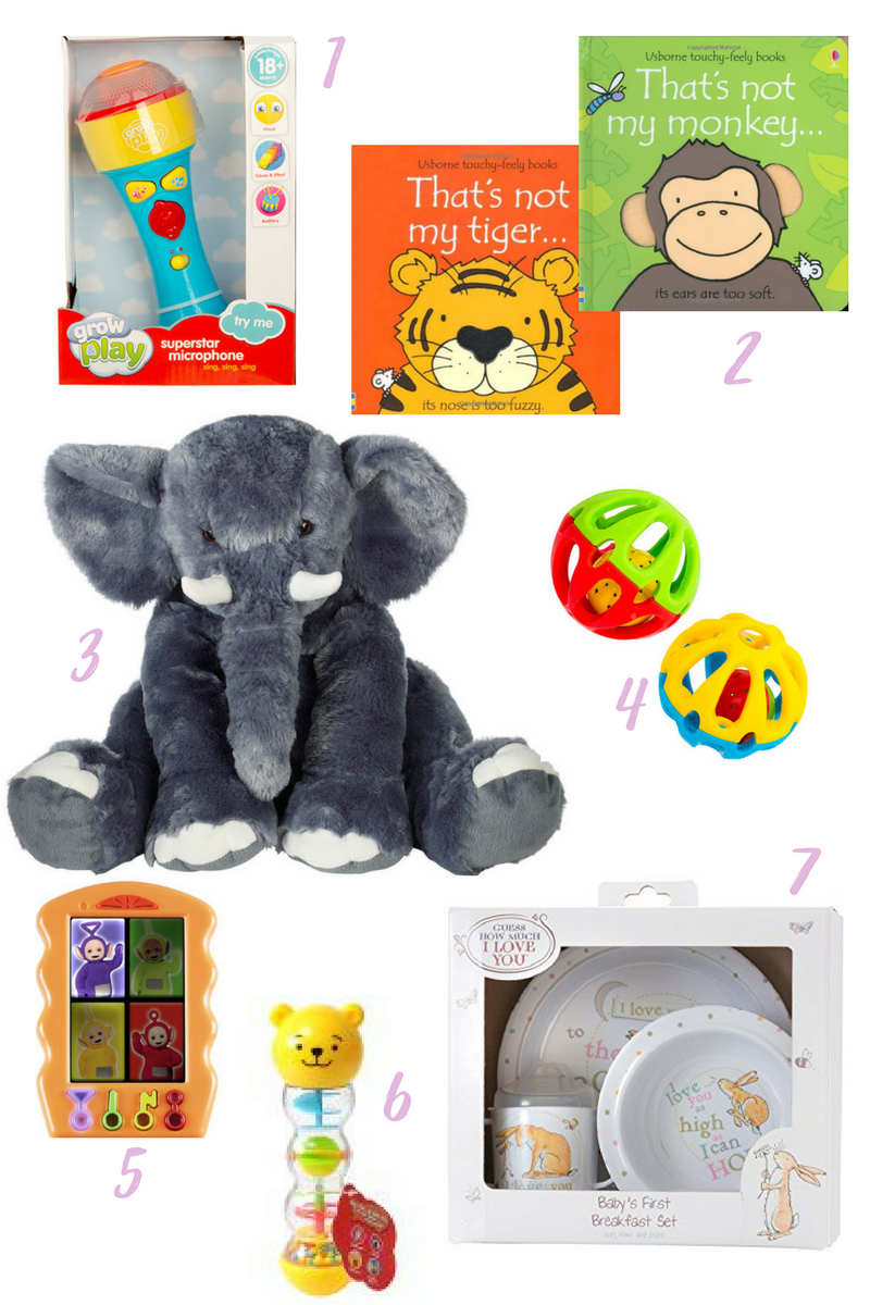 a range of presents purchased for a little girl's first birthday on a white background