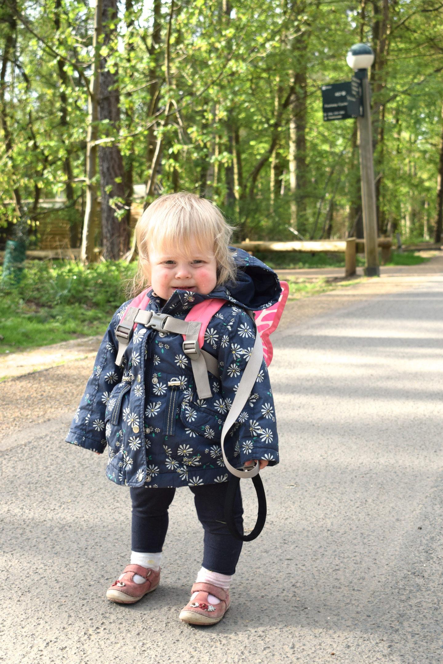 one year old walking in Center Parcs Elveden Forest