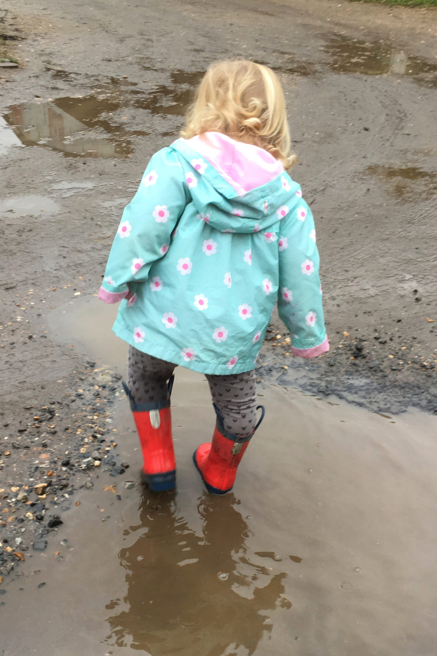 22 months old girl splashing in puddles in red wellies