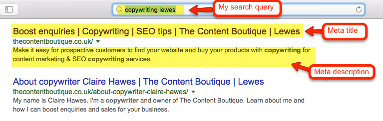 Example of The Content Boutique's website meta data: Meta Title and Meta Description