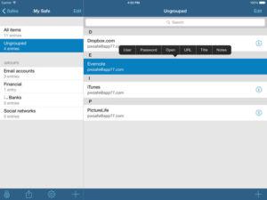 Productivity app: pwSafe