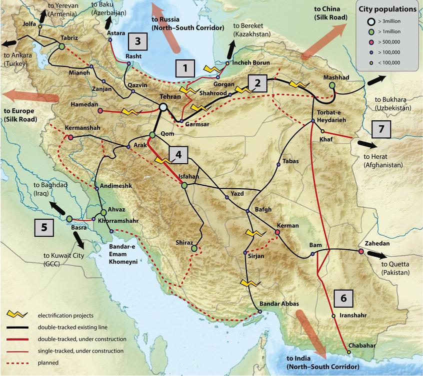 Iran's current rail network