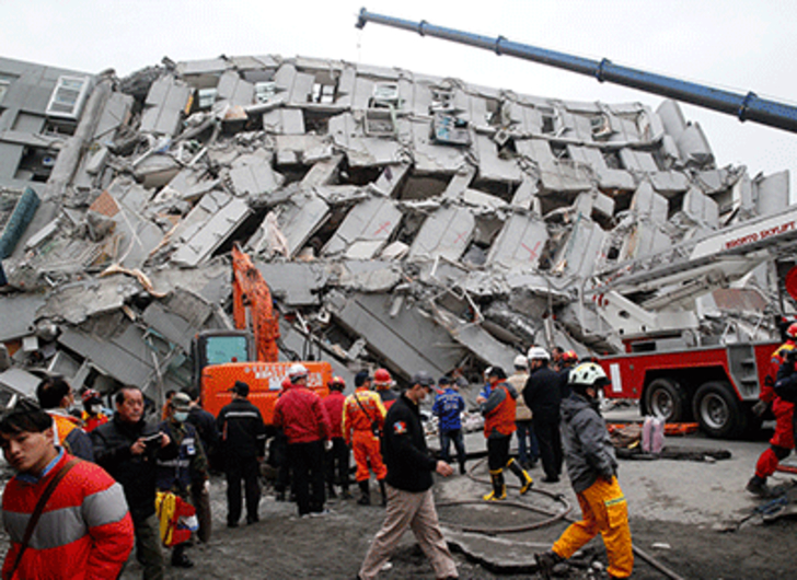 High-rise toppled in Taiwan