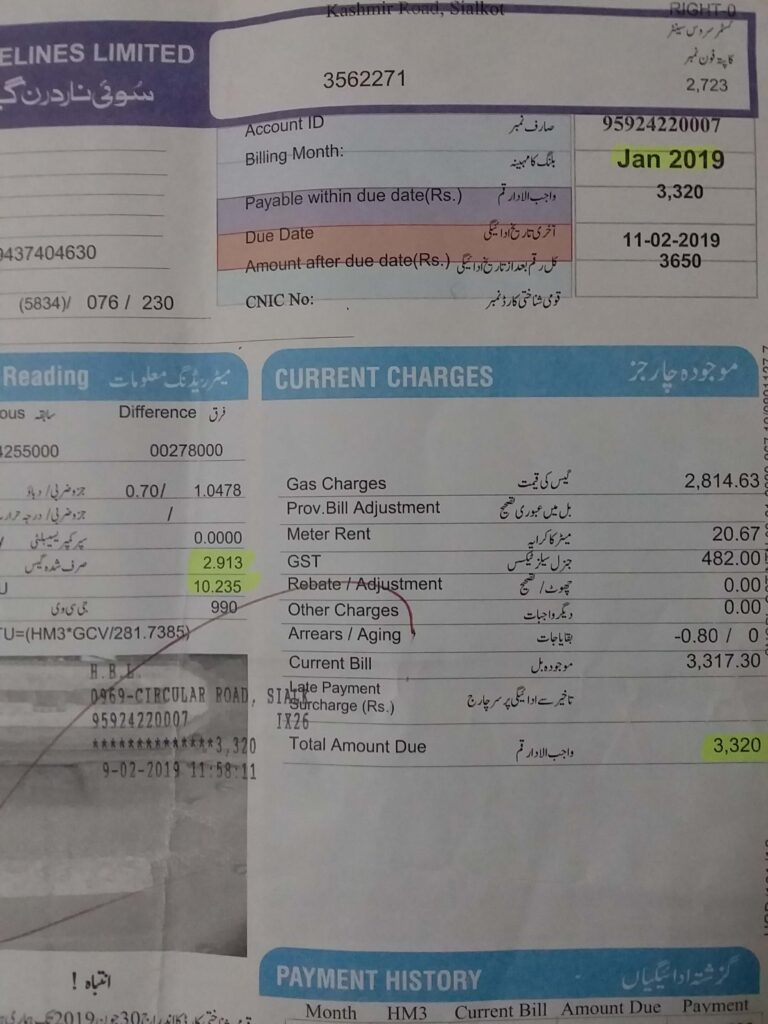 gas bill for january 2019