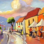 S2793 Street scene Oil on Board Anton Gericke 30cm x 90cm