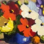 S2794 Flower study Oil on Board Anton Gericke 30cm x 90cm