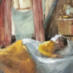 S3598 Sleeping Lady Oil on Canvas A.Rose-Innes 40cm x 50cm