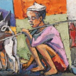S5044 Boy and his dog Oil on canvas Itai Vangani 61cm x 41cm