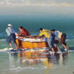 S1774 Trek Fisherman Oil on Canvas 30cm x 40cm