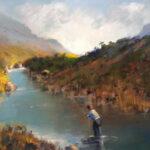 S2192 Trout Fisherman Oil on Canvas 60cm x 45cm