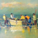 S2366 Trek Fisherman Oil on Board 30cm x 40cm