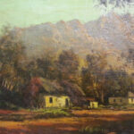 S2852 Cape dutch house Oil on Canvas 28cm x 23cm