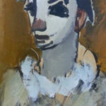 "S2875 Clown ""ark tan velvet"" Oil on Board 27cm x 39cm"