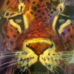 S2888 Lion study face Oil on Board 60cm x 90cm