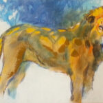 S2889 Lion Oil on Board 60cm x 90cm