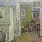 S2973 Interior scene Oil on Board Gregoire Consignment 58cm x 50cm