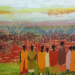 S2983 Masai Women Oil on Canvas 89cm x 120cm