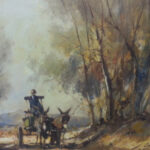 S3051 Donkey Cart Oil on Board C.Nice 60cm x 50cm