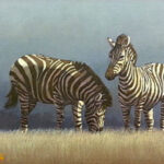 S3203, Zebra, Oil on Board, M.Smith, 57cm x 32cm ,