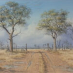 S3345, Bush Veld scene, Oil on Canvas Pasted on Board, R.Macintosh, 90cm x 60cm