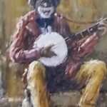 S3362 Banjo Player Oil on Board Christiaan Nice 27cmx30cm