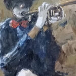 S3363 Trumpet Player Oil on Board Christiaan Nice 27cmx30cm