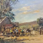 S3364 Rural Café Oil on Board Christiaan Nice 44cmx30cm