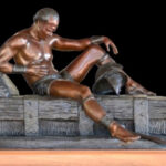 S3488 The Wounded Gladiator, Bronze Sculpture, Tienie Pritchard