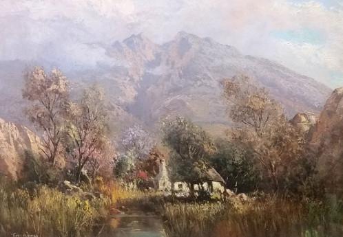 S2852 Cape dutch house Oil on Canvas 28cm x 23cm