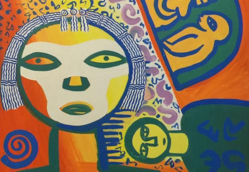 S3730 Lady With Flowers Oil on Canvas Walter Battis 30cmx28cm