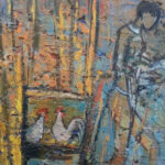 S3740 Korana Chicken Oil on Board W.Battiss 28cm x 24cm