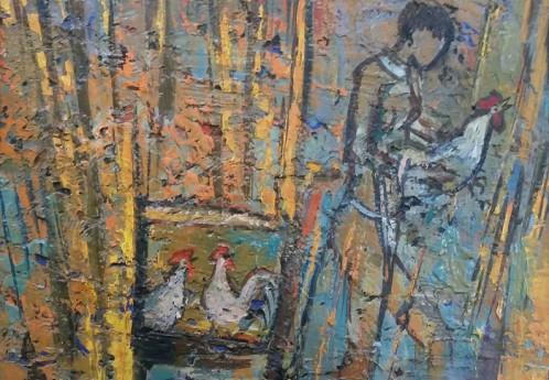 S3740 Korana Chicken Oil on Board W.Battiss 28cm x 24cm