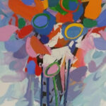 S3744 Flower Study Oil on Paper George Boys 67cmx90cm