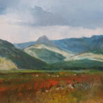 S3755 Land scape and mountains Oil on Canvas E.Boyley 76cm x 55cm