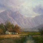 S3763B Landscape & Cottage Oil on Canvas Casey Vd Leek 60cmx90cm