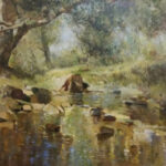 S3861 River and forest scene Oil on Board E.Boyley 1m x 70cm
