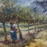 S3906 Picking Apples Oil on Canvas Aviva Maree 70cm x 80cm