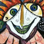 963 Abstract Clown Face Abstract B Oil on Canvas Stavri Kalinov 125cm x 125cm