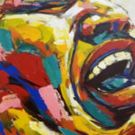 S3977 Laughter Oil on Canvas Tshidzo Mangena 78cmx102cm