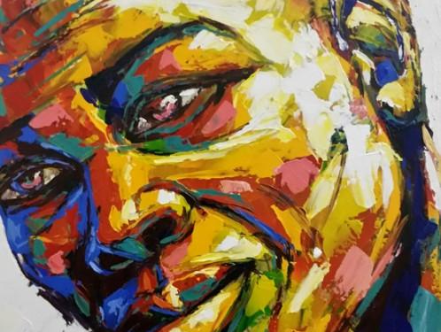S3977 Laughter Oil on Canvas Tshidzo Mangena 78cmx102cm