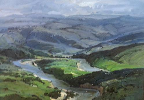 S3992 Orobi Gorge Landscape Oil on Board T.Fasciotti 50cm x40cm