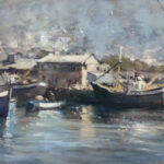 S4010 Harbour Scene Oil on Canvas Pasted on Board Squibb 75cm x 50cm