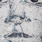 SMLangeni Black White Face Abstract 120cm x 120cm